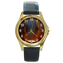 River Water Reflections Autumn Round Gold Metal Watch