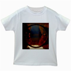 River Water Reflections Autumn Kids White T Shirts