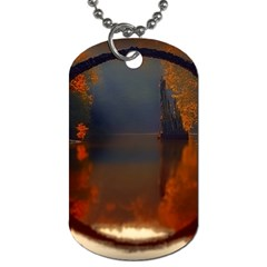 River Water Reflections Autumn Dog Tag (two Sides)