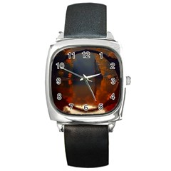 River Water Reflections Autumn Square Metal Watch
