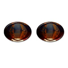 River Water Reflections Autumn Cufflinks (oval)
