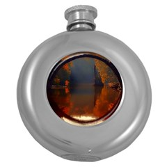 River Water Reflections Autumn Round Hip Flask (5 Oz)