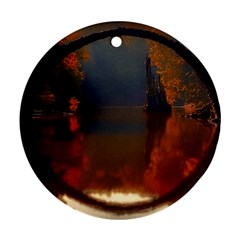 River Water Reflections Autumn Round Ornament (two Sides)