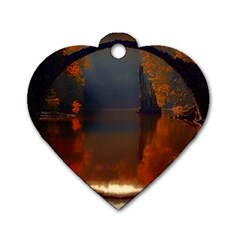 River Water Reflections Autumn Dog Tag Heart (two Sides)