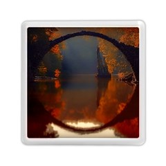 River Water Reflections Autumn Memory Card Reader (square)