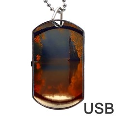 River Water Reflections Autumn Dog Tag Usb Flash (two Sides)