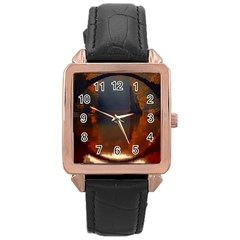 River Water Reflections Autumn Rose Gold Leather Watch