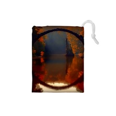 River Water Reflections Autumn Drawstring Pouches (small)