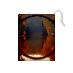 River Water Reflections Autumn Drawstring Pouches (medium)