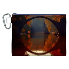 River Water Reflections Autumn Canvas Cosmetic Bag (xxl)