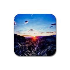 Iceland Landscape Mountains Stream Rubber Coaster (square)