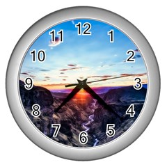 Iceland Landscape Mountains Stream Wall Clocks (silver)