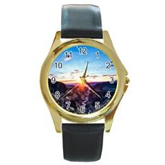 Iceland Landscape Mountains Stream Round Gold Metal Watch