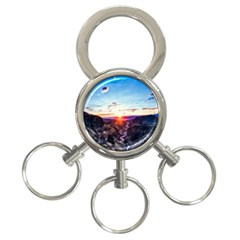 Iceland Landscape Mountains Stream 3 Ring Key Chains