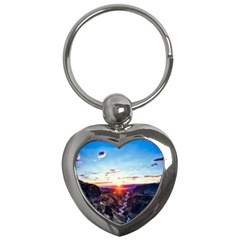 Iceland Landscape Mountains Stream Key Chains (heart)