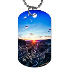 Iceland Landscape Mountains Stream Dog Tag (two Sides)