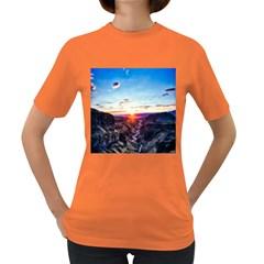Iceland Landscape Mountains Stream Women s Dark T Shirt
