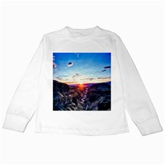 Iceland Landscape Mountains Stream Kids Long Sleeve T Shirts