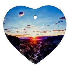 Iceland Landscape Mountains Stream Heart Ornament (two Sides)