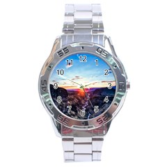 Iceland Landscape Mountains Stream Stainless Steel Analogue Watch