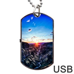 Iceland Landscape Mountains Stream Dog Tag Usb Flash (two Sides)