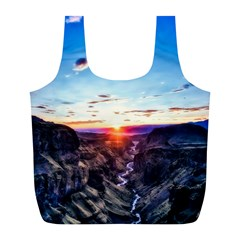 Iceland Landscape Mountains Stream Full Print Recycle Bags (l)