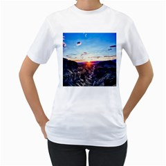 Iceland Landscape Mountains Stream Women s T Shirt (white)