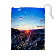 Iceland Landscape Mountains Stream Drawstring Pouches (extra Large)