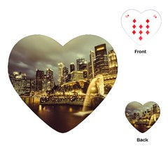 Singapore City Urban Skyline Playing Cards (heart)