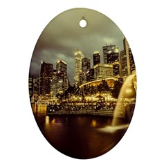 Singapore City Urban Skyline Oval Ornament (two Sides)