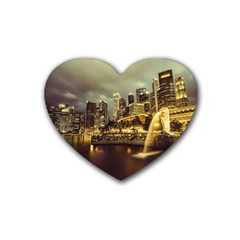 Singapore City Urban Skyline Heart Coaster (4 Pack)