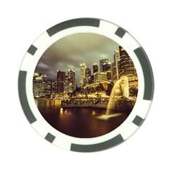 Singapore City Urban Skyline Poker Chip Card Guard