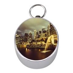 Singapore City Urban Skyline Mini Silver Compasses