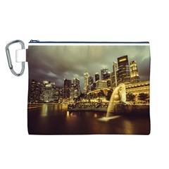 Singapore City Urban Skyline Canvas Cosmetic Bag (l)