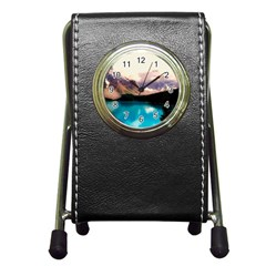 Austria Mountains Lake Water Pen Holder Desk Clocks