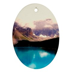 Austria Mountains Lake Water Oval Ornament (two Sides)
