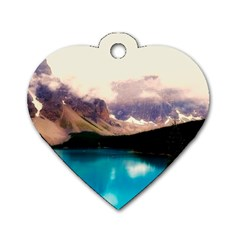 Austria Mountains Lake Water Dog Tag Heart (two Sides)