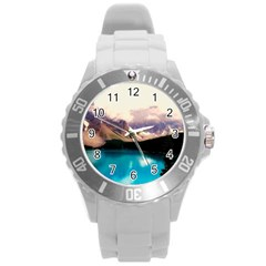 Austria Mountains Lake Water Round Plastic Sport Watch (l)