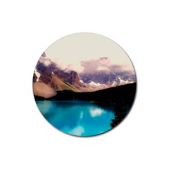 Austria Mountains Lake Water Rubber Coaster (round)