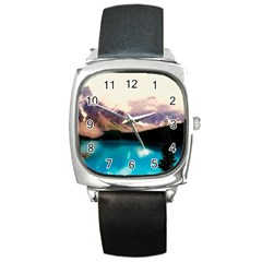 Austria Mountains Lake Water Square Metal Watch