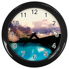 Austria Mountains Lake Water Wall Clocks (black)