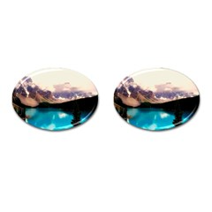 Austria Mountains Lake Water Cufflinks (oval)