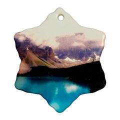 Austria Mountains Lake Water Snowflake Ornament (two Sides)