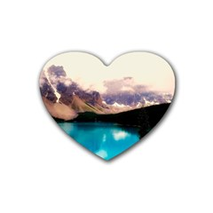 Austria Mountains Lake Water Heart Coaster (4 Pack)