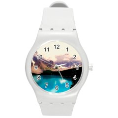 Austria Mountains Lake Water Round Plastic Sport Watch (m)