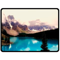 Austria Mountains Lake Water Fleece Blanket (large)