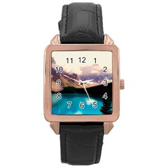 Austria Mountains Lake Water Rose Gold Leather Watch