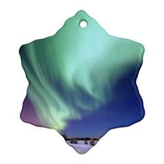 Aurora Borealis Alaska Space Snowflake Ornament (two Sides)