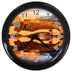 France Snow Winter Sunrise Fog Wall Clocks (black)