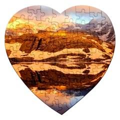 France Snow Winter Sunrise Fog Jigsaw Puzzle (heart)
